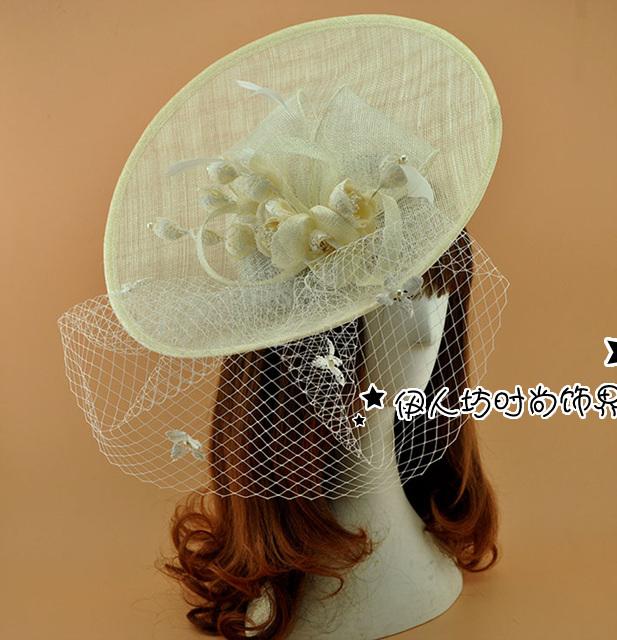 Luxo bege chapéus de noiva para a mulher chapéus Pillbox Fascinator chapéus chapéu de convidados do casamento Formal Headwear pena pousar Fascinator