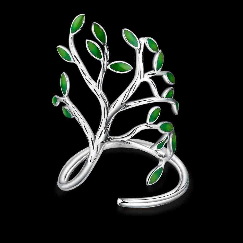 925 пробы Серебряное зеленое дерево, кольцо на палец с кубическим цирконием для танцевальной вечеринки, высокое качество, никогда не выцветает