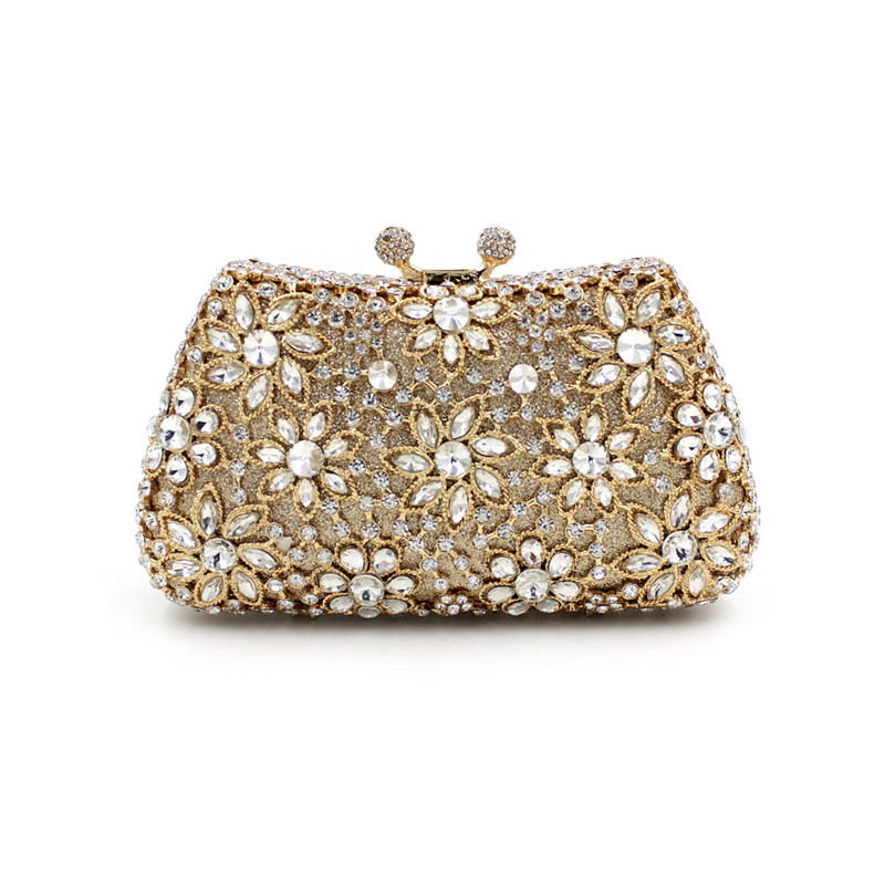 New Women Fashion Floral Silver Clutch Purse Bridal Party Crystal Evening Bag Handbag With Multicolored Stones