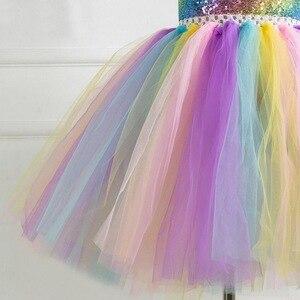 Image 5 - Vestido con tutú de unicornio para niñas, tutú con diadema dorada, alas, lentejuelas, Princesa, fiesta, disfraces de unicornio, 2 10T, novedad de 2019