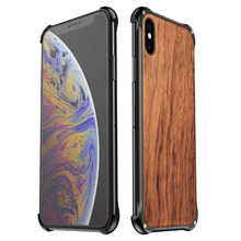 Wood Case For iPhone XS Max X 8 7 Plus Shockproof Metal Frame Bumper Cover Aluminum Shell