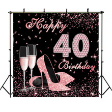 NeoBack Happy 40th Birthday Backdrop High Heels Elegant Lady Photography Backdrops Rose Gold Diamond for Pictures