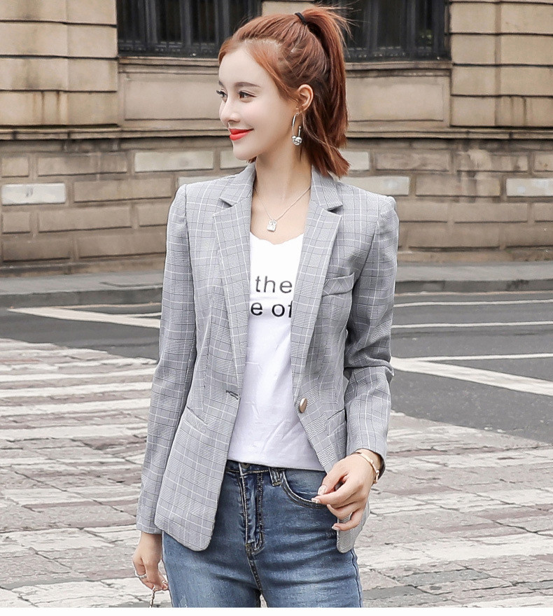 Lattice Small Suit Spring And Autumn New Style Lady's Self-Cultivation Leisure Coat Suit Trend