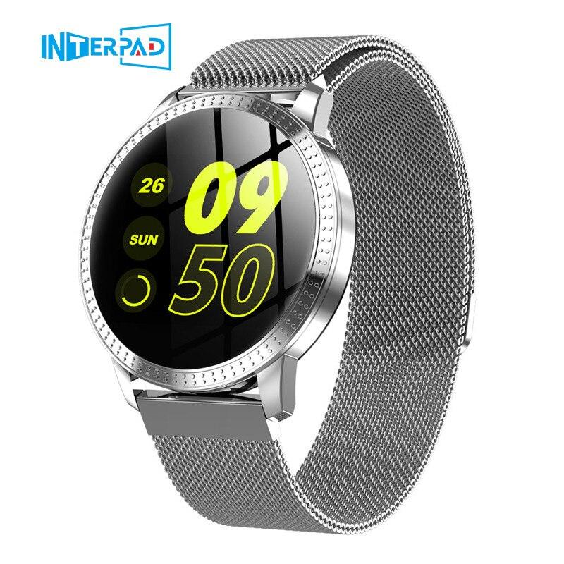 Reloj inteligente 2019 CF18 resistente al agua IP67 1,22 pulgadas Monitor de presión arterial Metal Starp Multi deporte modos SmartWatch mujer banda|Relojes inteligentes| |  -