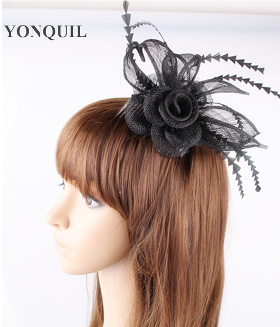 21 Colors Black DIY flower feather hair fascinators top quality sinamay  small accessories hat for lady girl wedding party church 8d77370fd97