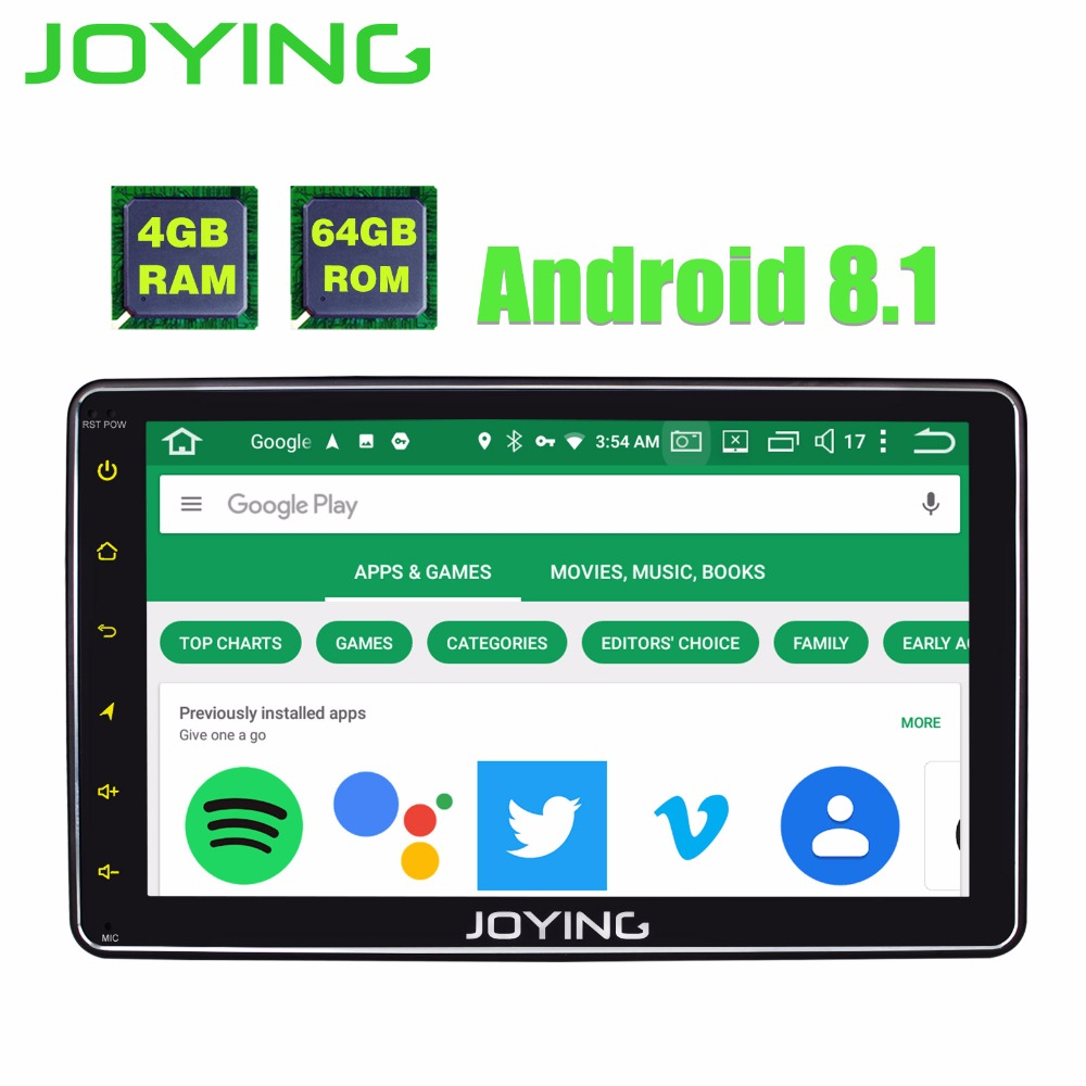 JOYING 4 gb RAM 64 gb ROM 1 DIN 8 pouce Android 8.1 voiture Autoradio HD écran stéréo tête unité bande enregistreur GPS lecteur avec carplay