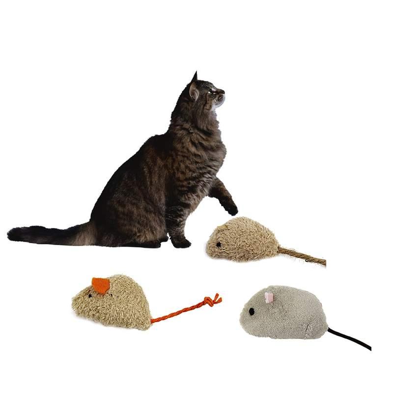Plush Simulation Mouse Cat Toy Rat Squeak Noise Sound Pet Cat Kitten Dog Playing Toy Cats feeding animals 3pcs/set