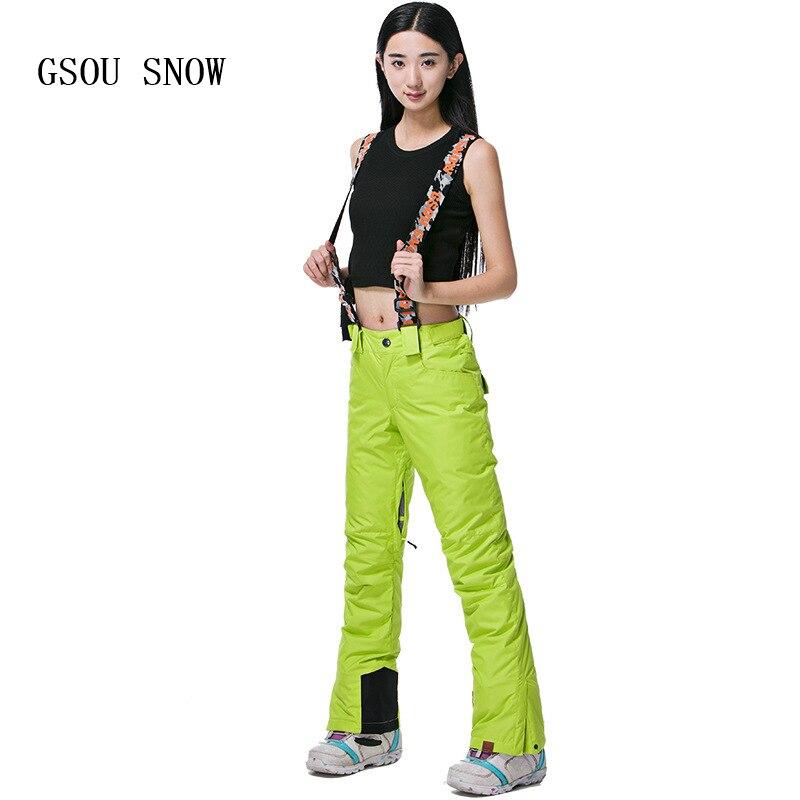 GSOU SNOW Women Strap ski pants Professional Snowboard Pant -30 Degree Winter Snow Pants Waterproof 10K Breathable Female Skiing