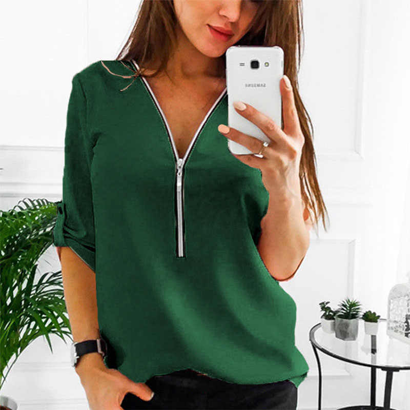 LAAMEI Zipper Short Sleeve Women Shirts Sexy V Neck Solid Women Top Blouses Casual Tee Shirt Tops Female Clothes Plus Sizes