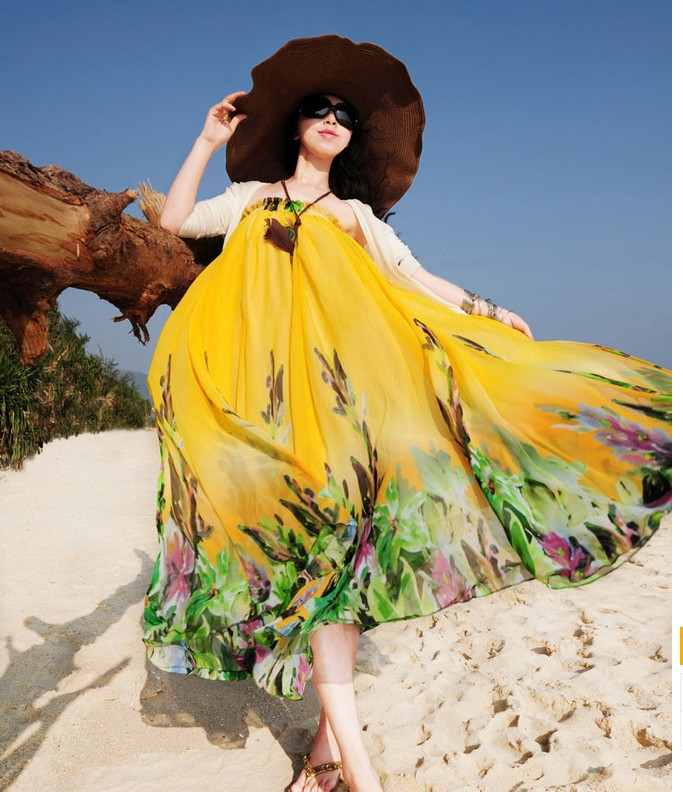 Летняя женская синяя шифоновая юбка с цветочным принтом богемные Напольные Длинные юбки