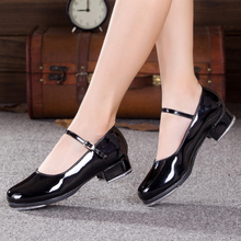 PU patent leather two - point soles women dance shoes Tap sports shoes A belt type Competition practice shoe Black heel 4cm