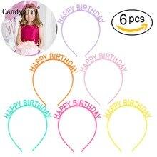6pcs Happy Birthday Headbands Kids Women Plastic Headwear Candy Colored Headdress Children Hairband Headpieces Hair Accessories