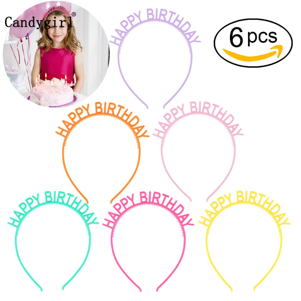6pcs Happy Birthday Headbands Kids Women Plastic   Headwear   Candy Colored Headdress Children Hairband Headpieces Hair Accessories