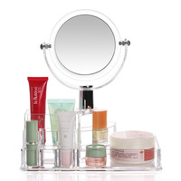 Acrylic Transparent Cosmetic Case Lipstick Lipstick Holder 3 Times Mirror Cosmetic Storage Box DA