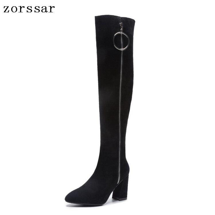 Grande Noir Sur Haut Talon Haute 43 {zorssar} Nubuck Le Bottes 33 Femme Suédé Femmes Cuir Genou De En Mode Chaussures Hiver Taille OWRRq16T