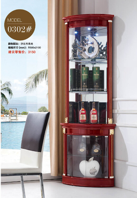 302 Modern Living Room Furniture Corner Cabinet Round Display Showcase Wine