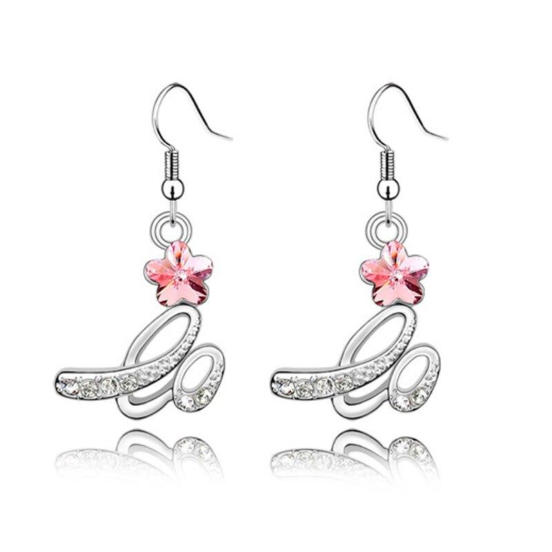 Silver Rhinestone Flower Bridal Earrings 2