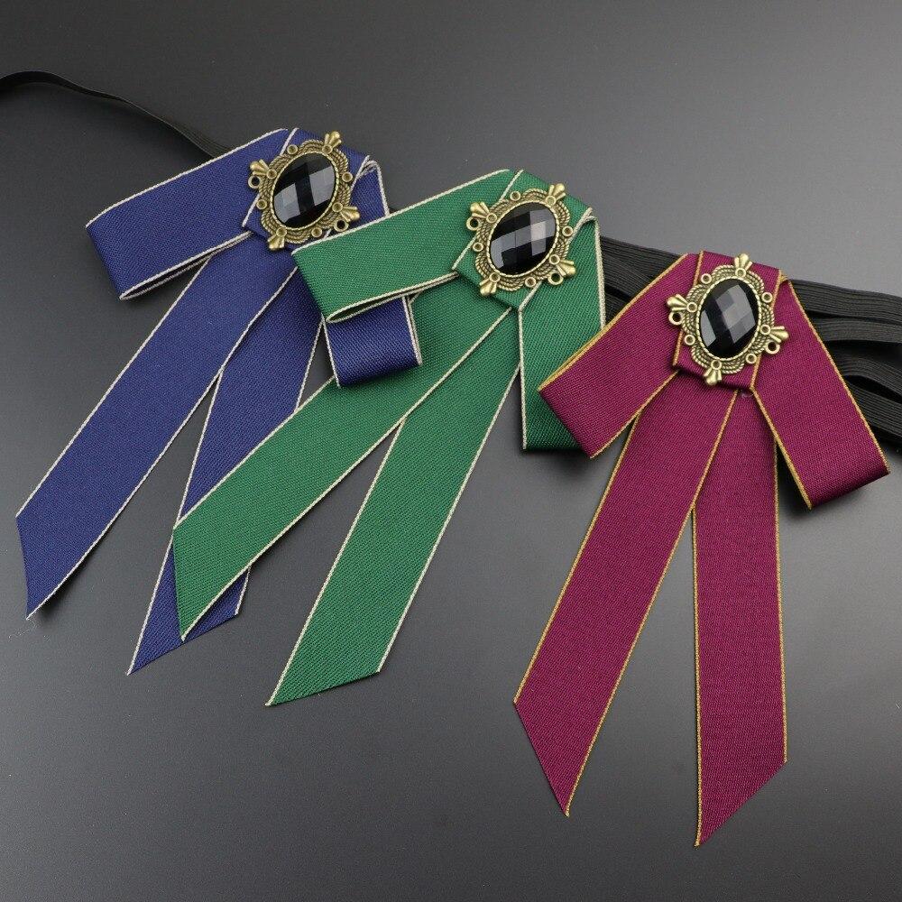 Women Bow Tie Vintage Cameo Lady Head Diamod Ribbon Tassel Brooch Chic Girls Elegant Costume Jewelry Collar Pin Girl Cravat