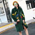 BringBring 2016 Winter Patch Designs Letter Hairy Shaggy Faux Fur Long Coat Thick Warm Stylish 1735