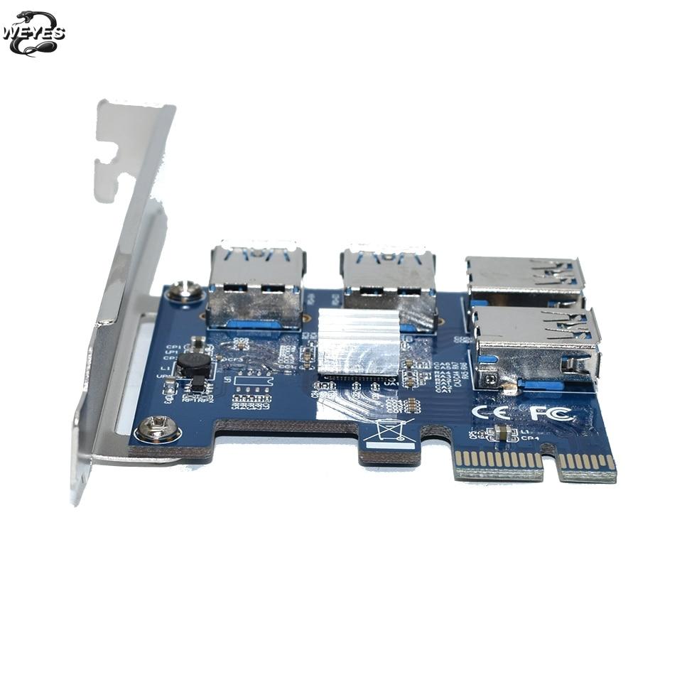 PCIE PCI-E PCI Express Riser Card 1x до 16x1 до 4 USB 3,0 слот мультипликатор концентратор адаптер для Биткоин Майнер BTC устройств