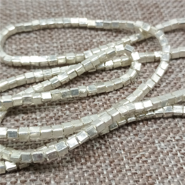 Karen Hill Tribe Silver Tiny Cube Beads 2.5mm Square Spacers for Bracelet Necklace
