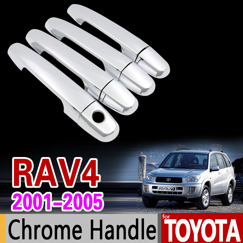 for Toyota RAV4 2001 - 2005 XA20 Chrome Handle Cover Trim Set 2002 2003 2004 RAV 4 Car Accessories Stickers Car Styling for toyota hilux 2005 2014 chrome handle cover trim an10 an20 an30 sr5 2007 2008 2010 2013 accessories stickers car styling