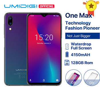 Umidigi One Max Global Vertion 4GB 128GB Helio P23 6.3 Waterdrop Display Android 8.1 NFC Smartphone Face ID Wireless Charger digital clock