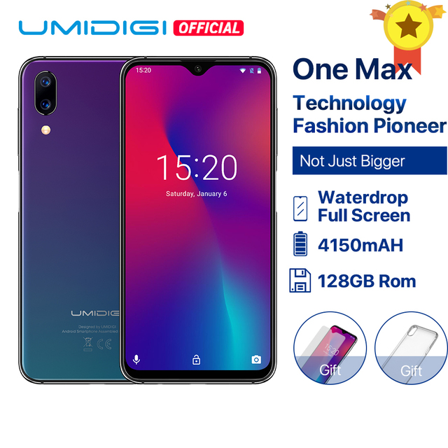 """UMIDIGI 1 最大グローバルバージョン 4 ギガバイト 128 ギガバイト 6.3 """"水滴フルスクリーン 4150 mah デュアルカメラスマートフォン NFC ワイヤレス充電顔 Id"""