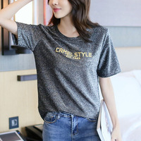 Bright Silk T Shirt Summer Bling Short Sleeve Tops Woman Silver Black Casual Loose T Shirt