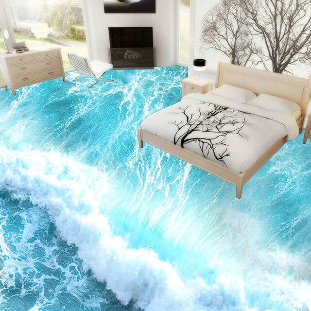 Nach 3D PVC Vinyl Bodenbelag Tapete Meer Wellen 3D Zimmer Einfach