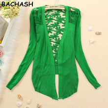 7f482f19abb BACHASH New Style 2018 Summer Autumn Jackets Girl Women s Lace Sweet Candy  Color Crochet Knit Blouse