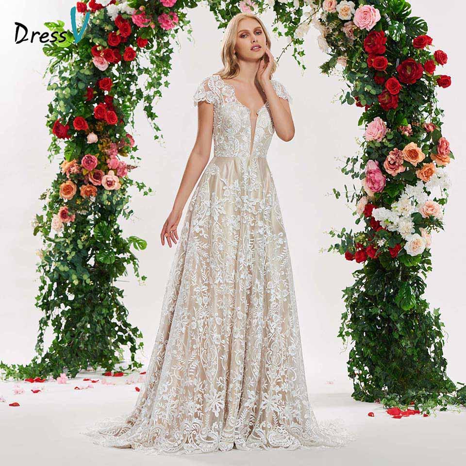 Dressv elegante a linha v neck apliques mangas curtas vestido de noiva de renda até o chão simples de noiva vestidos de noiva gonws