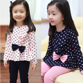 New girls clothing sets spring autumn children's gentlewomen princess dot bow clothes and pants set sweatshirt
