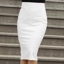 Женская белая/черная юбка-карандаш с высокой талией, юбка с разрезом, длина до колен, офисная одежда размера плюс