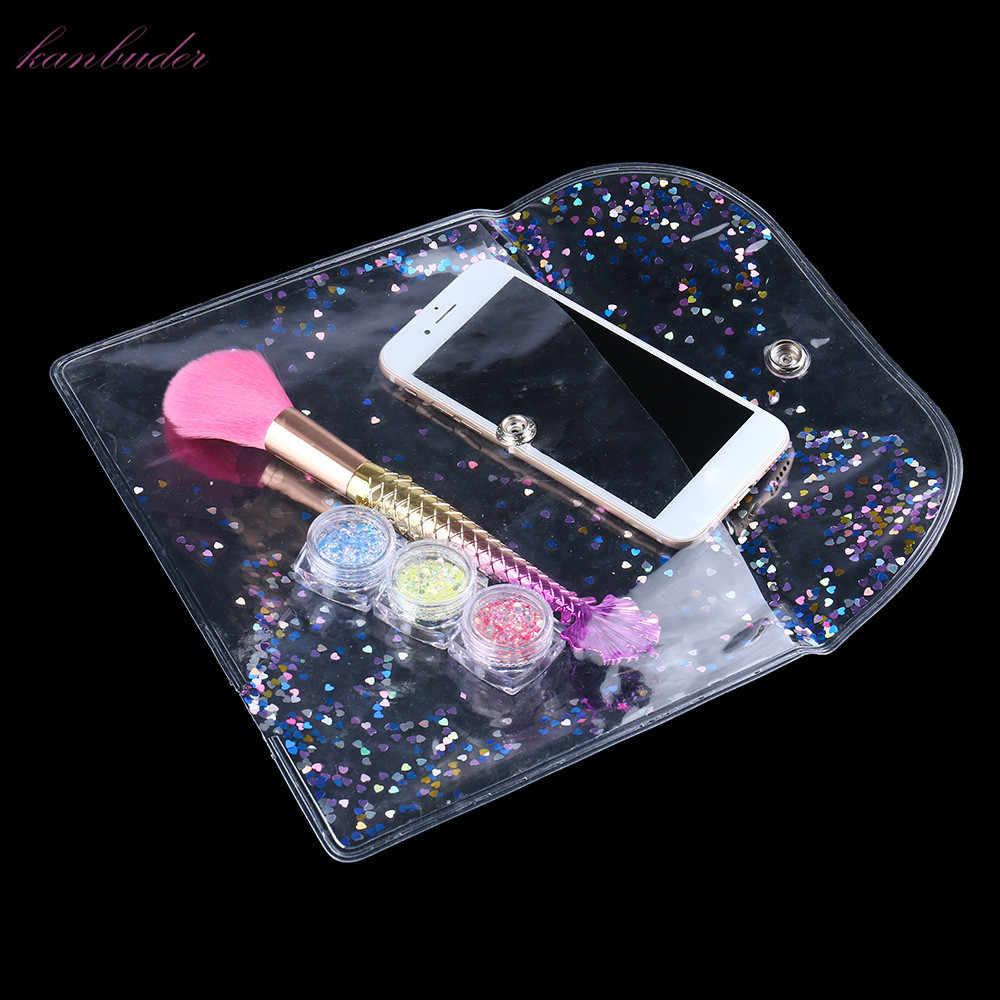 Kanbuder Makeup Caso Cosmetic Bag Makeup Bolsa de Higiene Pessoal Saco de Viagem Das senhoras das Mulheres Carteira Transparente cosméticos compõem sacos de viagem