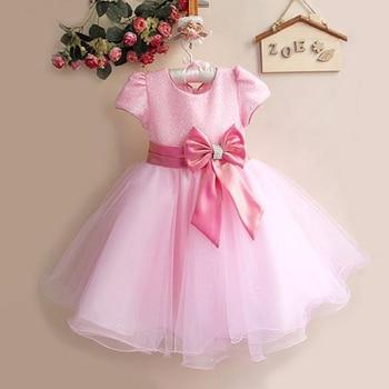 2017 Hot Sale Princess Flower Girl Dresses With Bow Belt For Little Girls Christmas Girl Costume 8 Color 1272