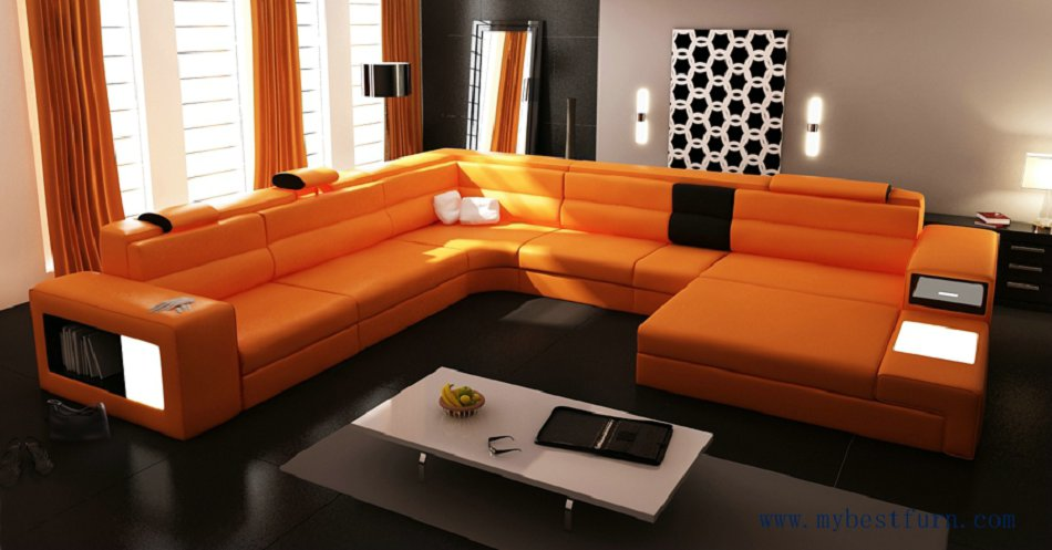 Hot Sale Modern Orange Sofa Set Large Size U Shaped Villa Couches Real Leather With Cabinet Bookself Home Furniture Sofas