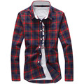 Spring Fall 2016 New Men's Casual Plaid Shirts Long Sleeve Slim Fit Comfort Soft Flannel Cotton Shirt Leisure Styles Man Clothes