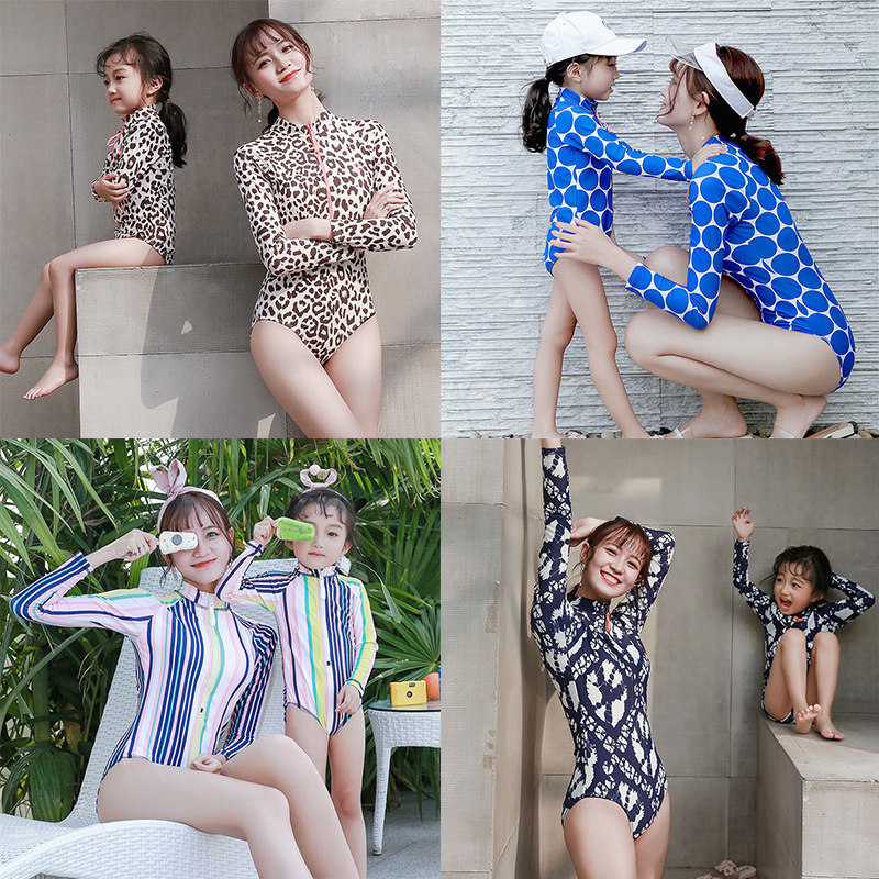 Leopard Mother Daughter Swimsuit Family Look Mommy And Me Swimwear 2019 Family Matching Outfits Mom And Daughter Bathing Suit