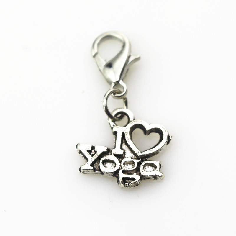 Hot selling 20pcslot i love yoga of charms lobster clasp hanging hot selling 20pcslot i love yoga of charms lobster clasp hanging charms for floating pendant lockets charms diy jewelry aloadofball Image collections