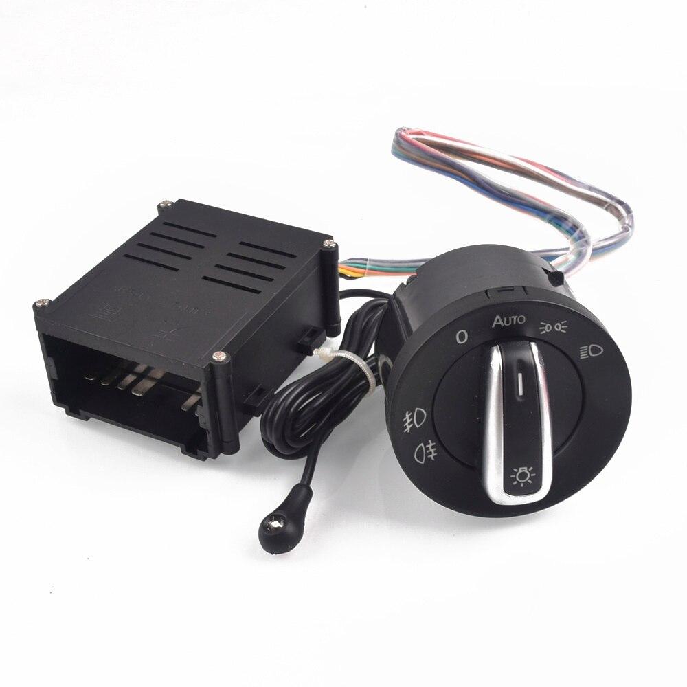 Lumière automatique de capteur de lampe de commutateur de lumière de Chrome de voiture pour VW Polo 9N 9N3 Passat B5.5 Transpoter Sharan 1C0941531/3BD + phare automatique