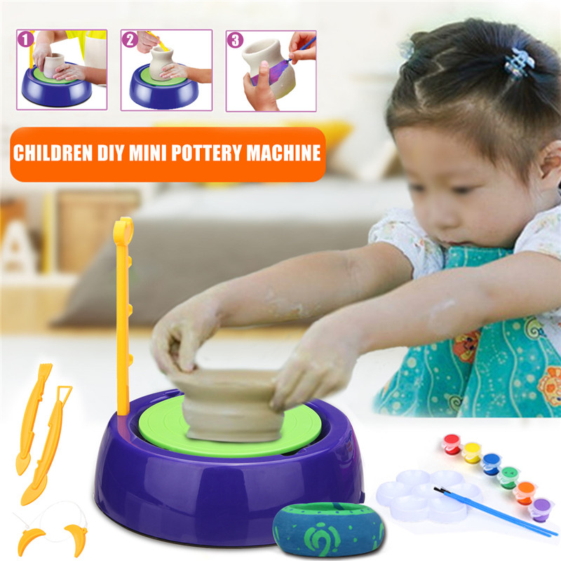 Mini DIY Handmake Ceramic Pottery Machine Pottery Wheels Kids Arts Craft Educational Gift Toy For Children g 3pcs pottery tools 18 5cm 26cm 31cm wood calipers for proportioning t