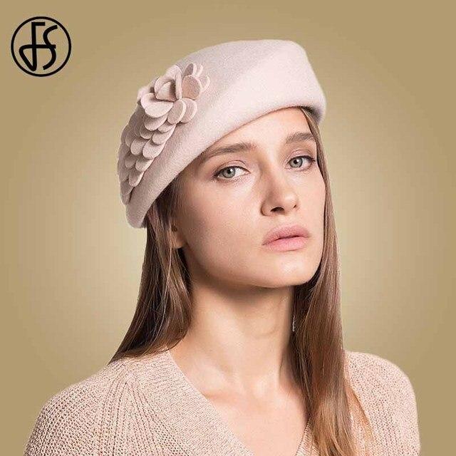 FS 100% Australian Wool Felt BeretsสุภาพสตรีศิลปินBeretหมวกสำหรับสุภาพสตรีหมวกCasual Boinaดอกไม้หมวกBoina Femininoหมวก