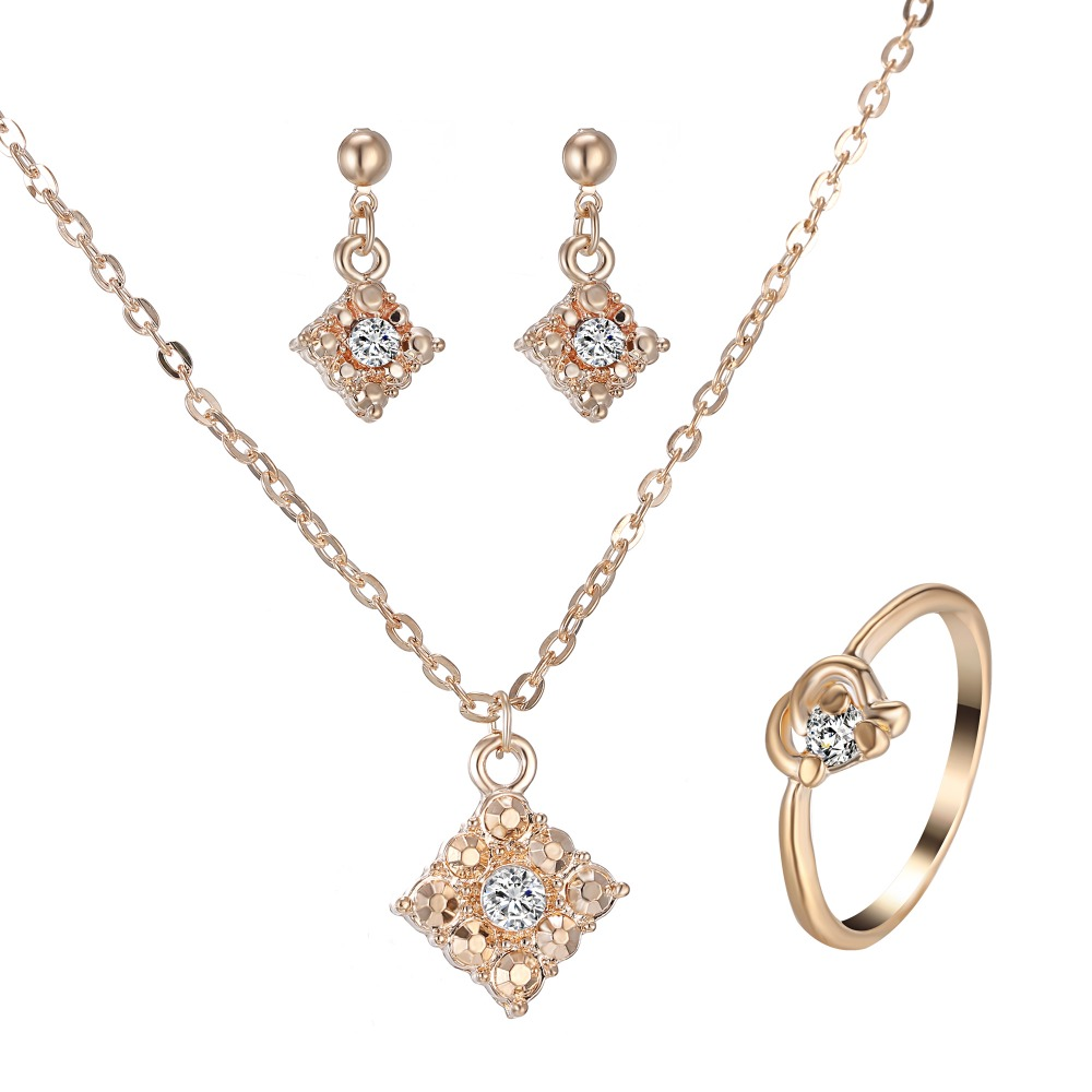 Romantic Women's Pendant Necklace Gold Jewelry Set for women wedding accessories Crystal Necklace Earring Ring Bijoux Sets Gift