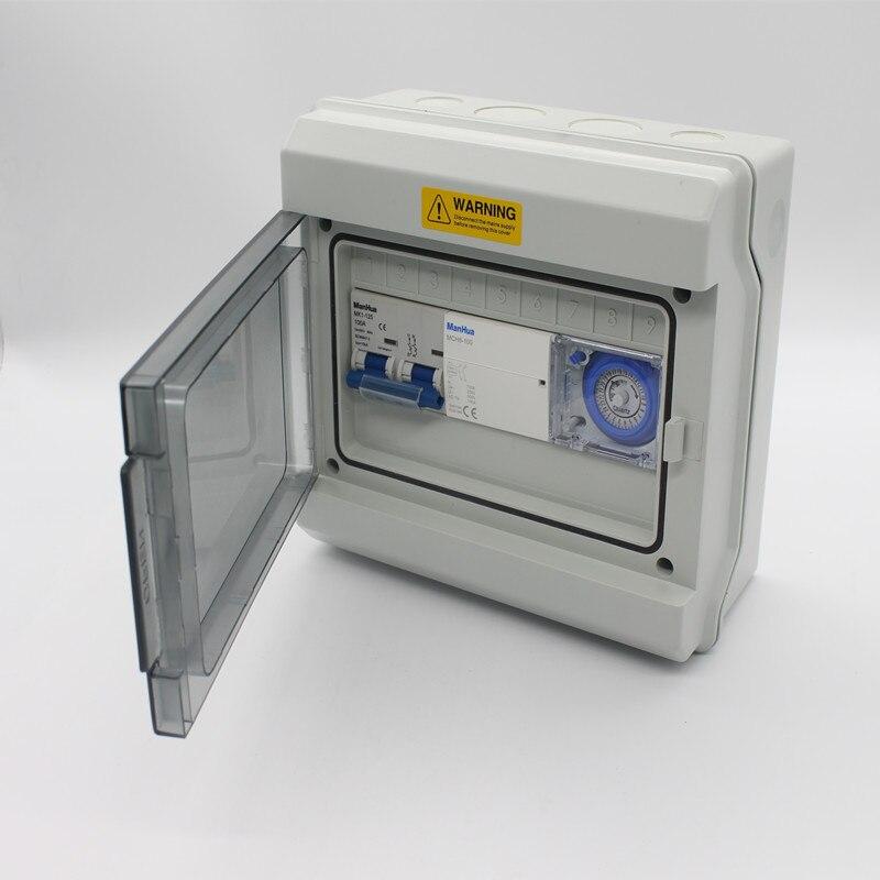 Manhua multifonctionnel 2 canaux 100A Protection étanche avec boîtier de commande de commutateur de minuterie mécanique