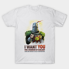 2017 New Men Brand I Want You For A Warrior Of Sunlight T-Shirt Gaming Dark Souls Arteries Praise The Sun T Shirt Cool Tops Tees
