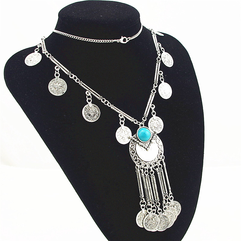 Bohemian Vintage Lange Anhänger Halskette Silber Überzogene Kette - Modeschmuck - Foto 3