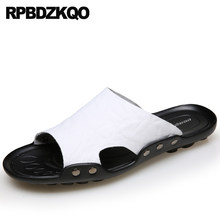 Slides White Water Slippers Beach Size 46 Slip On Outdoor Shoes Fashion Men  Sandals Leather Summer Flat Waterproof 2018 47 Plus 4739bb00fb24
