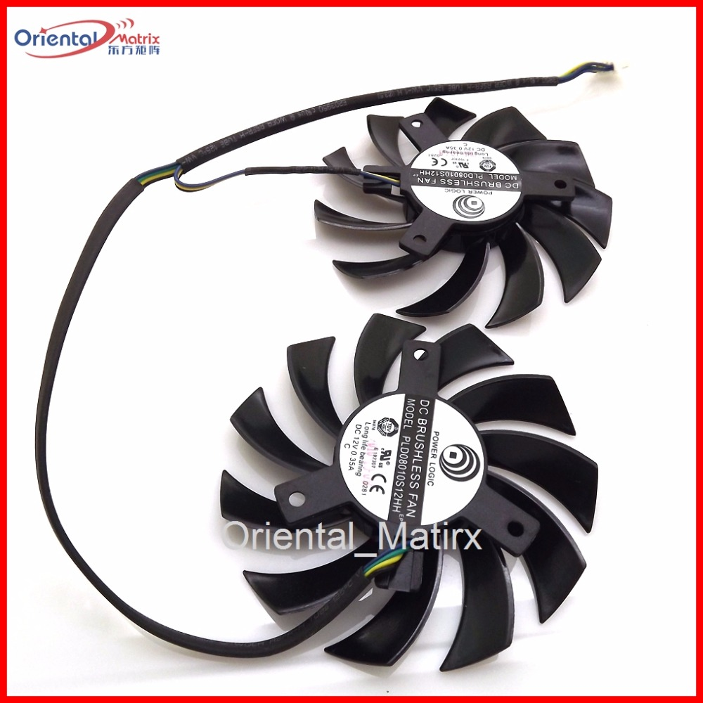 Free Shipping New 2pcs/Lot PLD08010S12HH 75mm DC12V 0.35A 4Pins Graphics Card Fan Cooling Cooler free shipping 2pcs lot pld08010s12hh dc 12v 0 35a 75mm dual fans replacement video card fan msi twin frozr iii 4pin