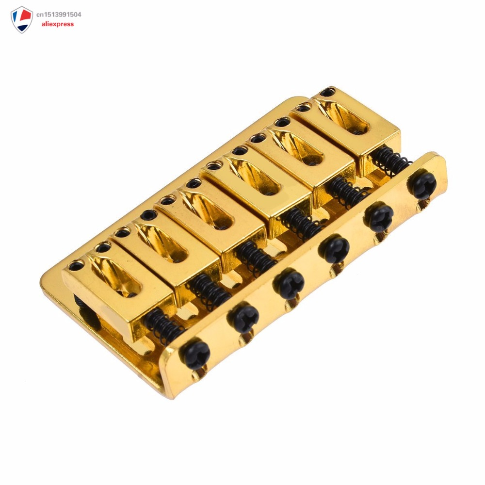 new gold 6 string saddle fixed type bridge for electric guitar parts 73mm with screws wrench in. Black Bedroom Furniture Sets. Home Design Ideas